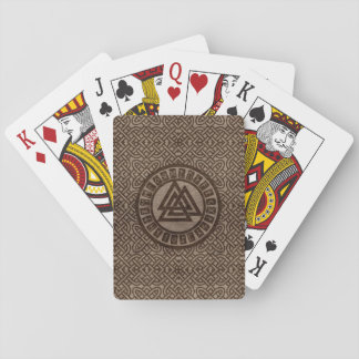Valknut Symbol and Runes on Celtic Pattern on Wood Playing Cards