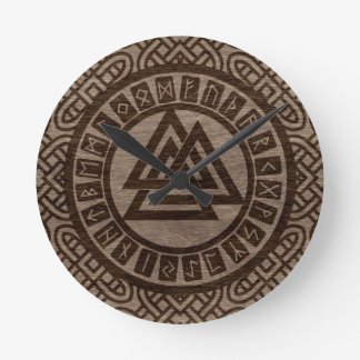 Valknut Symbol and Runes on Celtic Pattern on Wood Round Clock