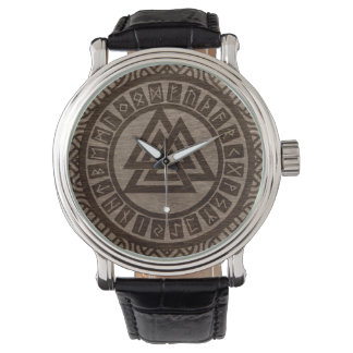 Valknut Symbol and Runes on Celtic Pattern on Wood Watch