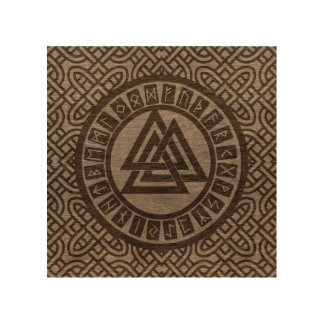 Valknut Symbol and Runes on Celtic Pattern on Wood Wood Print