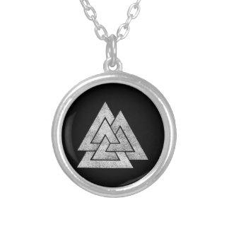 Valknut Viking Design Silver Plated Necklace