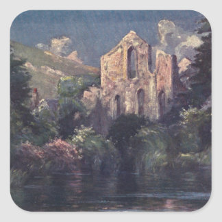 Valle Crucis Abbey 1905, Llangollen, Wales Square Sticker