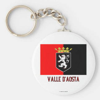 Valle d'Aosta flag with name Basic Round Button Keychain