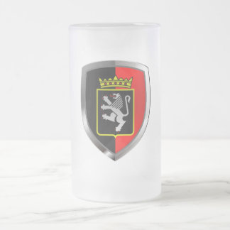 Valle d'Aosta Mettalic Emblem Frosted Glass Beer Mug