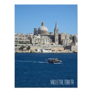 Valletta Skyline Luzzu Fishing Boat Harbour Malta Photo Print