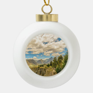 Valley and Andes Range Mountains Latacunga Ecuador Ceramic Ball Ornament