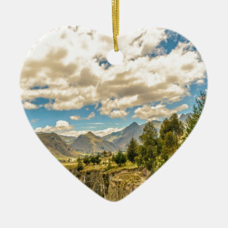 Valley and Andes Range Mountains Latacunga Ecuador Ceramic Heart Ornament