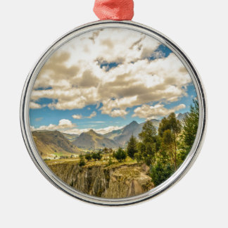 Valley and Andes Range Mountains Latacunga Ecuador Silver-Colored Round Ornament