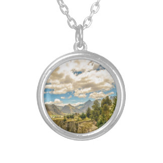 Valley and Andes Range Mountains Latacunga Ecuador Silver Plated Necklace