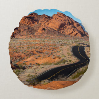 Valley of Fire Round Pillow