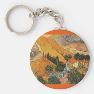 Valley with Ploughman by Vincent van Gogh Keychain