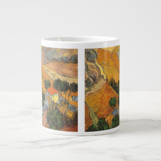 Valley with Ploughman by Vincent van Gogh Large Coffee Mug