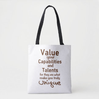 Value Your Talents - Quotes On Custom Tote Bags