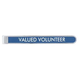 Valued Volunteer Tie Clip Silver Finish Tie Bar