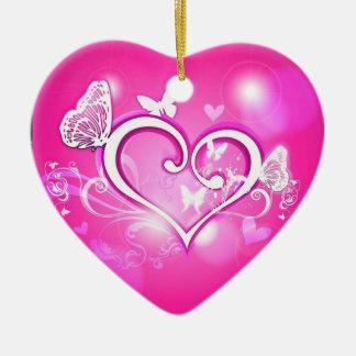 Valuegem Pink Butterfly Hart Ornament