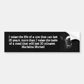 Values Black Cow Bumper Bumper Sticker