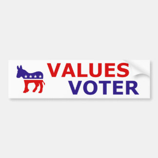 Values Voter sticker with liberal donkey logo