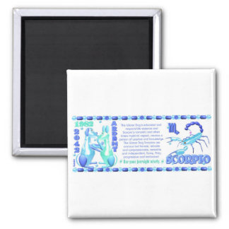 ValxArt 1982 2042  zodiac water dog born Scorpio Square Magnet