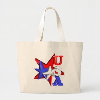 Valxart USA red white and blue stars design on Large Tote Bag