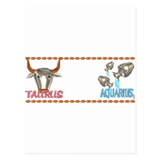 ValxArt's friendship between Taurus Aquarius sign Postcard