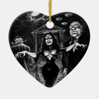 Vampira Plan 9 zombies Ceramic Heart Ornament