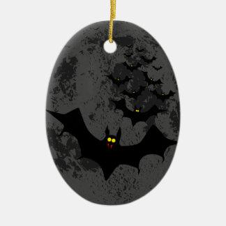 Vampire Bats Against The Dark Moon Ceramic Oval Ornament
