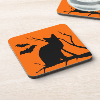 Vampire Bats And Black Cat Spooky Halloween Coasters