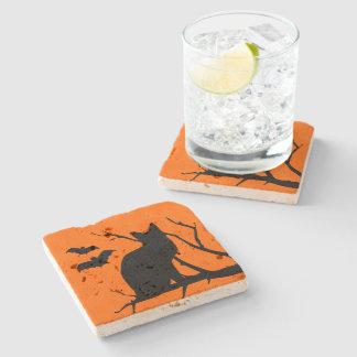 Vampire Bats Black Cat Silhouette Haunted House Stone Beverage Coaster