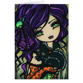 Vampire Black Cat Halloween Fantasy Fairy Art Card