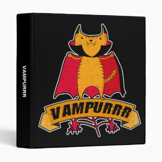 Vampire Cat Cute Cartoon Pun -  Vampurrr Halloween Binders