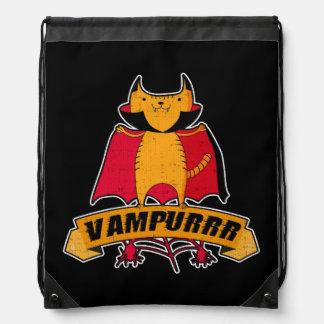 Vampire Cat Cute Cartoon Pun -  Vampurrr Halloween Drawstring Bag