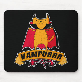 Vampire Cat Cute Cartoon Pun -  Vampurrr Halloween Mouse Pad