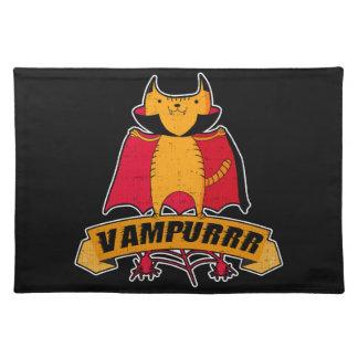 Vampire Cat Cute Cartoon Pun -  Vampurrr Halloween Placemat