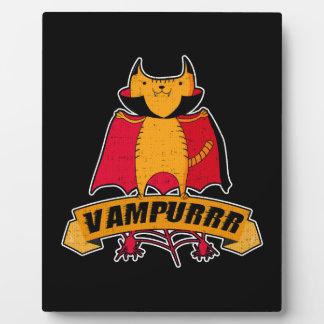 Vampire Cat Cute Cartoon Pun -  Vampurrr Halloween Plaque