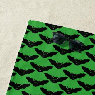 Vampire Cat Faced Bat Halloween Beach Towel