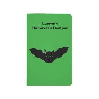 Vampire Cat Faced Bat Halloween Custom Recipe Journals
