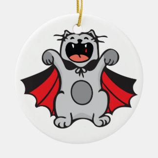 Vampire Cat Round Ceramic Ornament