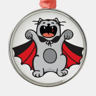Vampire Cat Silver-Colored Round Ornament