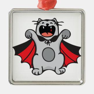 Vampire Cat Silver-Colored Square Ornament