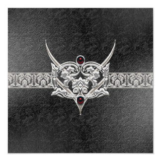 Vampire Goth Faux Leather Jeweled Wedding Card