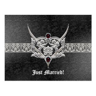 Vampire Goth Faux Leather Jeweled Wedding Postcard