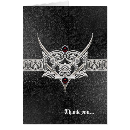 Vampire Goth Faux Leather Jewelled Wedding Card