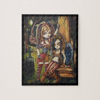 Vampire Goth Sisters Fantasy Art Puzzle in Tin