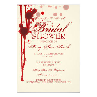 "Vampire Halloween Bridal Shower Fake Blood Red 5"" X 7"" Invitation Card"