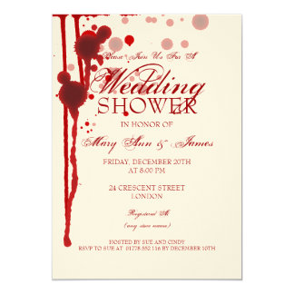 "Vampire Halloween Couples Shower Fake Blood 5"" X 7"" Invitation Card"