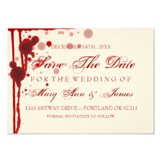 """Vampire Halloween Save The Date Fake Blood Red 4.5"""" X 6.25"""" Invitation Card"""