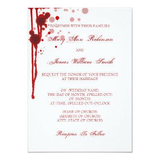 "Vampire Halloween Wedding Fake Blood Red 4.5"" X 6.25"" Invitation Card"