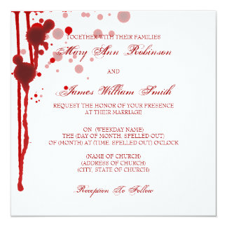 "Vampire Halloween Wedding Fake Blood Red 5.25"" Square Invitation Card"