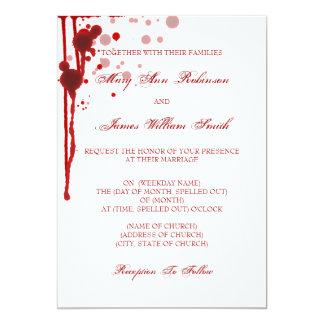 "Vampire Halloween Wedding Fake Blood Red 5"" X 7"" Invitation Card"