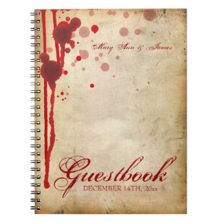 Vampire Halloween Wedding Guestbook Fake Blood Red Notebooks